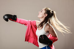 Feminist woman training, boxing. Royalty Free Stock Photography