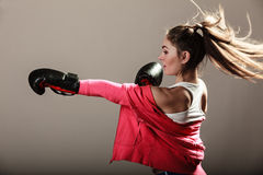 Feminist woman training, boxing. Royalty Free Stock Photos