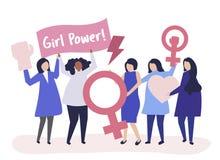 Feminister som stöttar jämställdhet med ett fridsamt, samlar vektor illustrationer