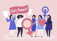 Feminister som stöttar jämställdhet med ett fridsamt, samlar stock illustrationer