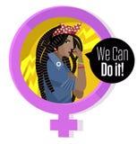 Feministische Frau der afrikanischen Dreadlocks, die ihren Arm hält vektor abbildung