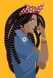Feministische Frau der afrikanischen Dreadlocks, die ihren Arm hält lizenzfreie abbildung