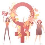Feministische Mädchen kämpfen für Frauen ` s Rechte mit Fahnen, Mädchenmacht vektor abbildung
