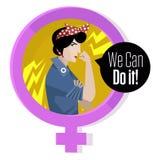Feministische Symbolfrau, die ihren Arm hält stock abbildung