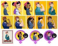 Feministiska affischer vektor illustrationer