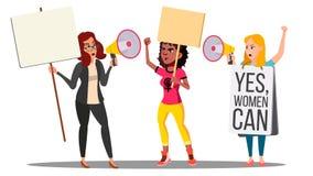 Feministiska flickor på protesthandling för rättvektor för kvinnor s isolerad knapphandillustration skjuta s-startkvinnan stock illustrationer