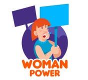 Feministiska folkmassakvinnor stock illustrationer