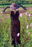 Feminity in flowers. Woman silhouette in dress posing in wild flowers stock photos