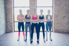 Feminity, sport, vitality, health, weight loss, bodycare, beauty. Wellness and wellbeing concept. Full size of five hot young sport ladies are standing with royalty free stock photography