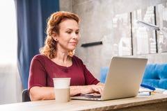 Femme à l'aide de l'ordinateur portatif Photos stock