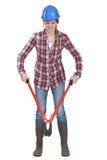 Femme à l'aide des boulon-coupeurs Photo libre de droits