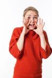 Femme à l'aide des mains pour indiquer un bruyant secret étonnant Photos libres de droits