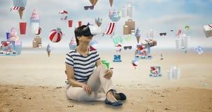 Femme à l'aide du casque de réalité virtuelle avec les icônes digitalement produites 4k de dessert banque de vidéos