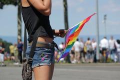 Femme à la fierté homosexuelle 2011, Genève, Suisse Photographie stock libre de droits
