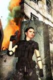 Femme à la guerre illustration stock