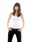 Femme à la mode au-dessus de blanc Photo libre de droits