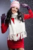 Femme à la mode avec la neige images stock
