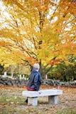 Femme à la tombe dans le cimetière Image libre de droits