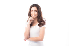 Femme à moitié asiatique souriant sur le fond blanc photos stock