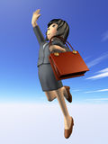 Femme à sauter vers le but Photos libres de droits