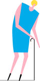 Femme âgée avec la canne Image libre de droits