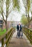 Femme âgée avec le marcheur Image libre de droits
