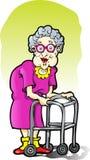 Femme âgée avec un marcheur Images libres de droits