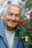 Femme âgée et fleurs Images stock