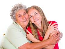 Femme âgée et son descendant Image libre de droits