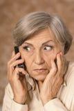 Femme âgée inquiétée Photos libres de droits