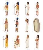 Femme égyptienne Cléopâtre d'homme d'un dieu de horus de pharaon de caractère de personnes d'Egypte antique de vecteur dans la ci illustration stock