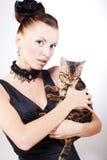 Femme élégant avec le chat Photos libres de droits