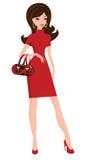 Femme élégant dans la robe rouge Photo libre de droits