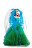 Femme élégant dans une robe bleue photographie stock libre de droits