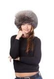 Femme élégant en fourrure chaude de l'hiver Photographie stock