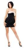 Femme élégant séduisant dans la robe noire Photo stock