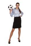 Femme élégante avec du ballon de football Photographie stock