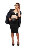 Femme élégante d'affaires dans le costume élégant Image stock