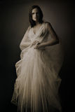 Femme élégante dans la longue robe Photo libre de droits