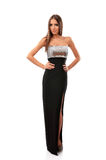 Femme élégante dans la longue robe de soirée images stock