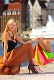 Femme élégante de client dans la vieille ville Danzig images libres de droits