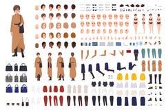 Femme élégante de constructeur de Moyens Âges ou de kit de DIY Collection de parties du corps féminines de personnage de dessin a illustration libre de droits