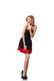 Femme élégante de sourire sûre dans la robe se tenant dans intégral Photo stock