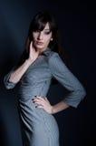 Femme élégante en test la robe Photos stock