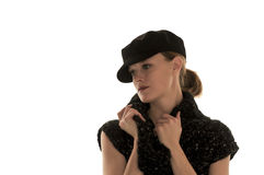 Femme élégante utilisant le chapeau noir Photos libres de droits