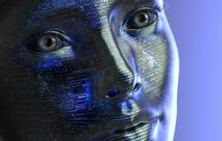 Femme électronique ou cyborg féminin d'isolement sur le fond binaire Photographie stock