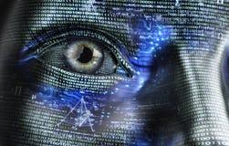 Femme électronique ou cyborg féminin d'isolement sur le fond binaire Photos stock