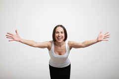 Femme étirant ses mains photographie stock