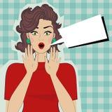 Femme étonnée avec la bouche ouverte illustration de vecteur