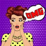 Femme étonnée d'art de bruit de bulle d'OMG illustration de vecteur